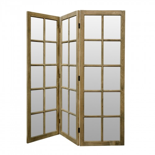 Natural screen room divider with mirrors