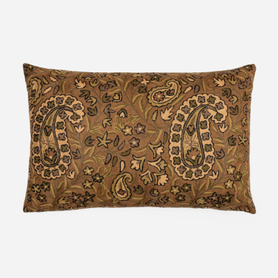 Brown rectangular Crewel cushion