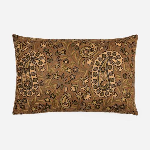 Brown rectangular Crewel cushion