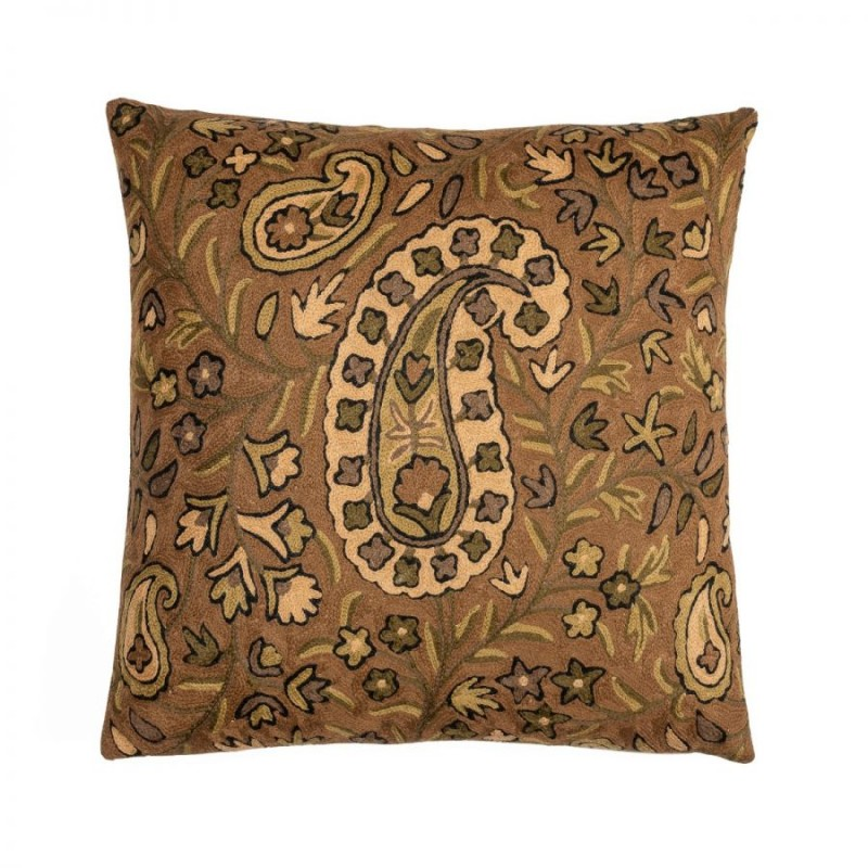 Brown square Crewel cushion